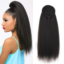 Drawstring Ponytail Hair-Extensions Fake-Hair Around Clip-In Women Kinky Straight Long