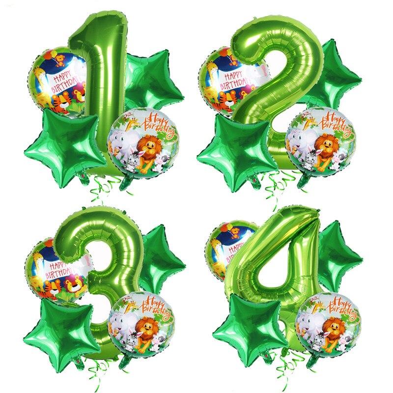 40-дюймовые воздушные шары с зелеными цифрами для детей, вечерние украшения на день рождения, воздушные шары с животными в джунглях, вечерние...