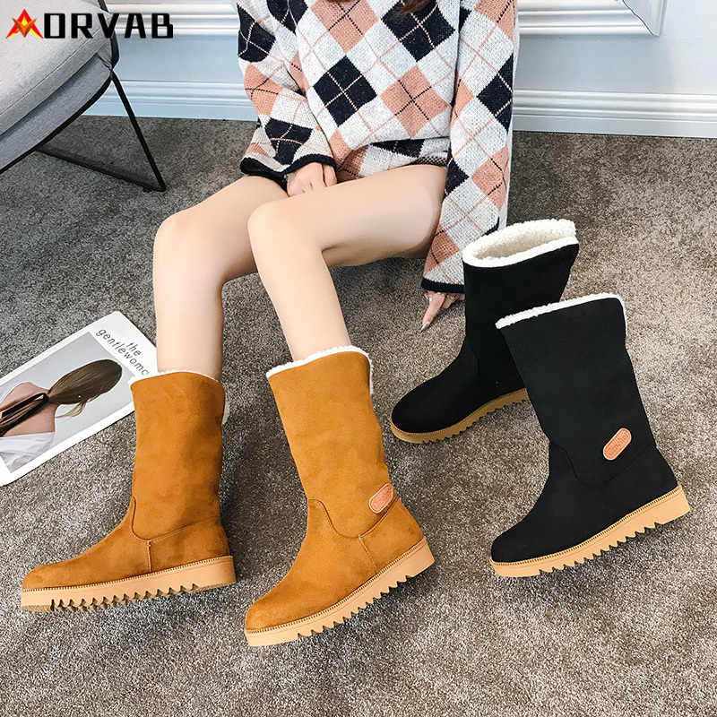 2019 ใหม่แฟชั่นฤดูหนาว Slip-On รองเท้าผู้หญิงหิมะรองเท้าสบายแบนข้อเท้ารองเท้าบูทสำหรับสุภาพสตรีสีดำผู้หญิงรองเท้าแบน