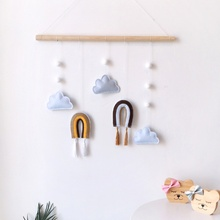Nordic Style Rainbow Cloud Felt Hanging Decoration With Wood Sticks Home Ornament For Children Room Baby Tent Nursery