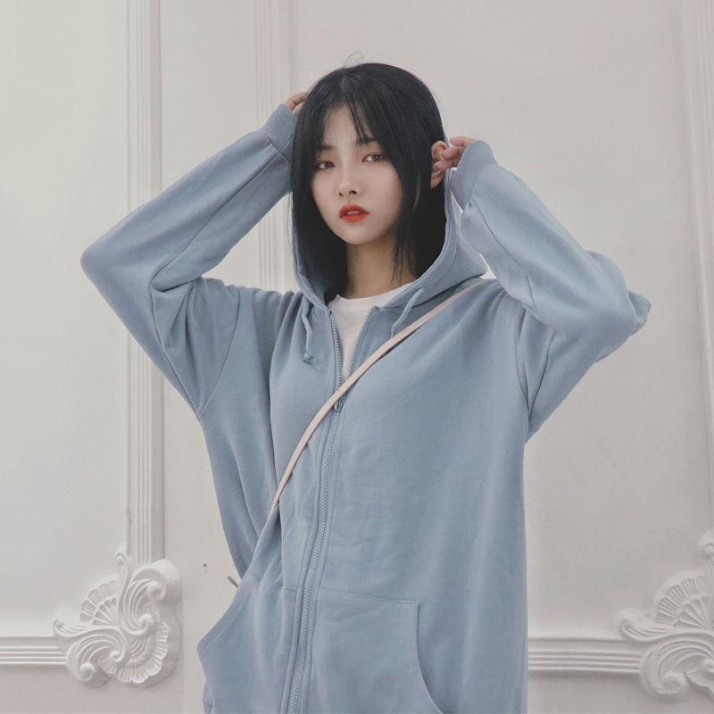 Harajuku with hat hoodies women zipper kangaroo pocket casual loose solid color sweatshirt female 2020 fashion new female tops 14