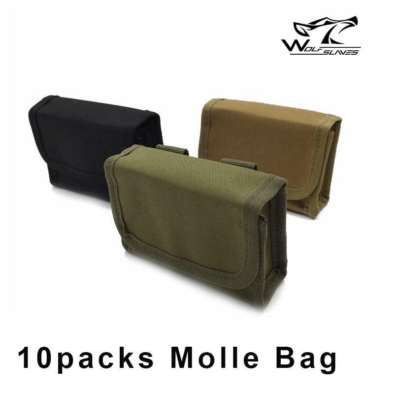10 Packs XT Bullet Bag Army Hunting Magazine Pouch Tactical Ammunition Pack Molle Pouch Bag For Belt Package Army Black Tan Bag