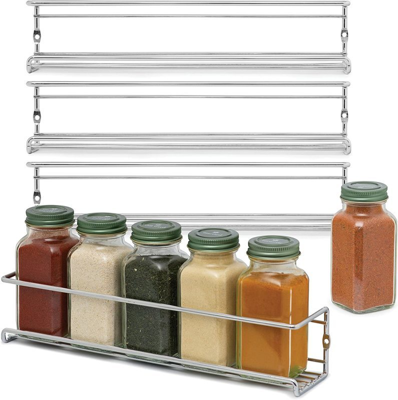 Space Saving Spice Racks Chrome Spice Holder For Wall Mounting Spice Rack Organizer For Cabinet, Door Mount Or Metal Spice Racks