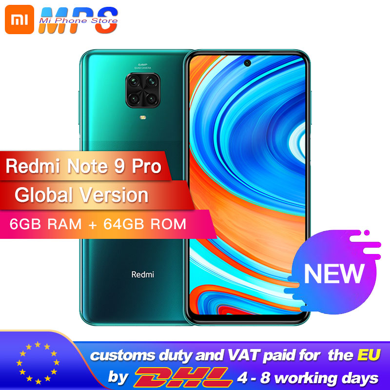 Xiaomi Redmi Global Version Note 9 Pro 6GB 64GB NFC Smartphone Snapdragon 720G Octa Core 64MP Quad Camera 6.67
