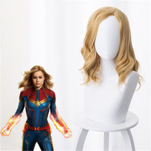 цены Movie Carol Danvers Curly Women Captain Coplay Wig Golden  Curly Hair Synthetic Hair Halloween Party Costume Wig+Wig Cap