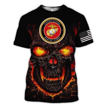 Tessffel America Marine Camo Skull Soldier Army NewFashion Casual 3DPrint Unisex Summer Funny T-Shirt Short Sleeve Men/Women B-2 5