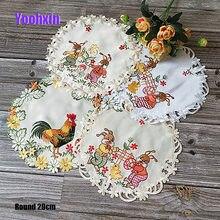 Mantel Individual con bordado de huevos de pollo y conejo, tapete de cocina, decoración para la Mesa
