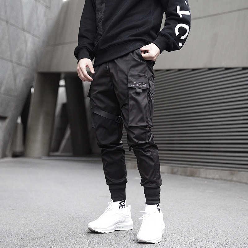 Pria Celana Kargo Hitam Pita Blok Multi-Saku 2020 Harem Lari Harajuku Sweatpant Hip Hop Kasual Celana Panjang Pria