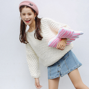 Ailegogo New Autumn Winter Women Knitted Pullovers Casual Female White O-neck Loose Sweater Solid Color Ladies Knitwear Tops 4