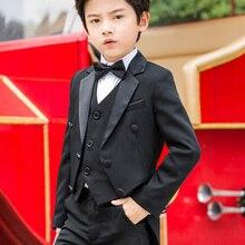 Piano-Performance Suit Tuxedo Dress Flower Boys' Children's Host Costume-Size 100-120-150-160