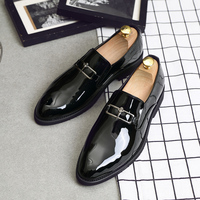 plus size men casual business wedding dress black patent leather shoes slip on driving oxfords shoe gentleman loafers zapatos