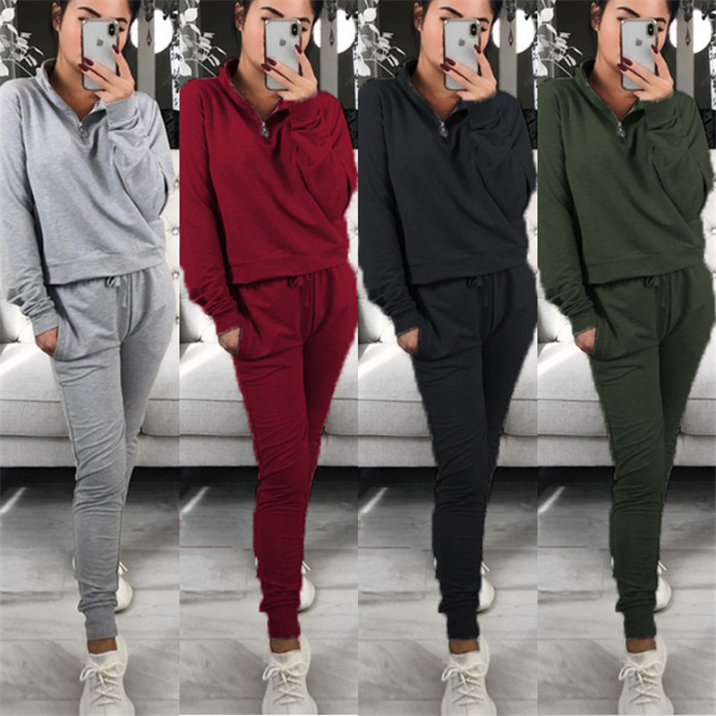 Stand Collar Zipper Casual 2 Piece Sports Suit Ladies Tracksuit Jogger Outfits Girls Long Sleeve Women Clothing