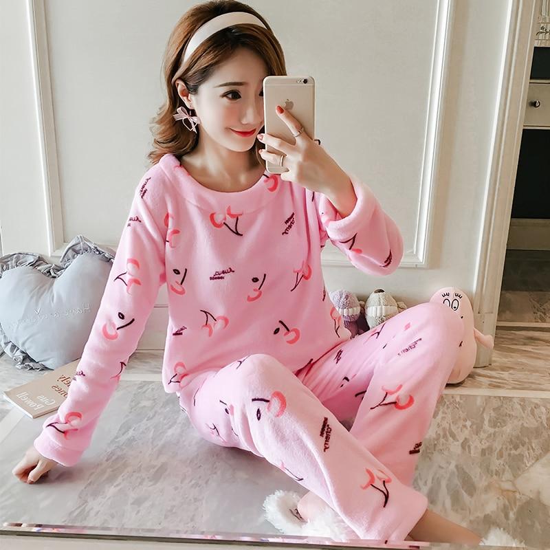 New Thin Flannel   Pajamas     Set   Autumn Winter Warm Flannel Women Pyjamas   Sets   Thick Coral Velvet Long Sleeve Cartoon Sleepwear