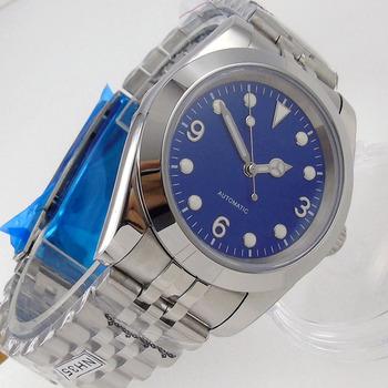 36mm 39mm automatyczny zegarek męski24 klejnoty NH35A niebieska tarcza świecąca tarcza szczotkowana jubileuszowy pasek widząc powrót Glide Lock tanie i dobre opinie PaGeFelix 5Bar CN (pochodzenie) Zapięcie bransolety simple Mechaniczna nakręcana wskazówka Samoczynny naciąg 22cm STAINLESS STEEL