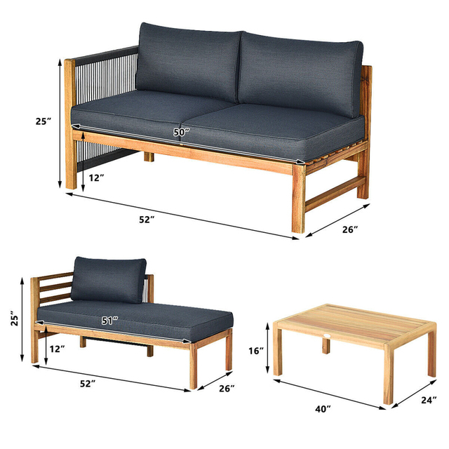 3 Piece Patio Sofa Set with Armrest  2