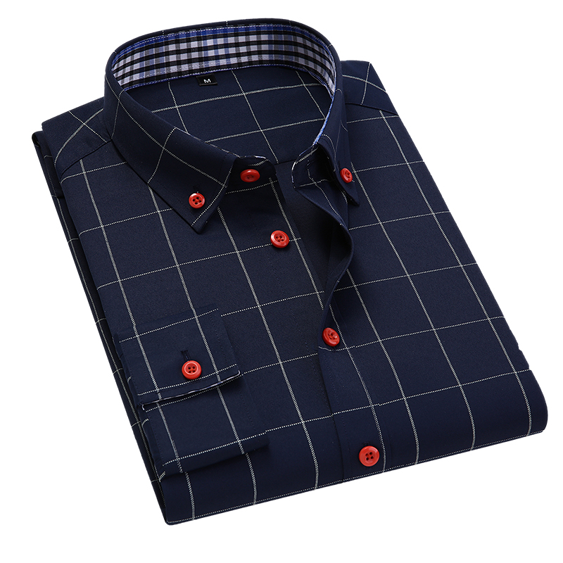 Handsome Fashion Men Shirts Casual Long Sleeved Plaid Shirt Regular Fit Male Blouse 4XL 5XL 4