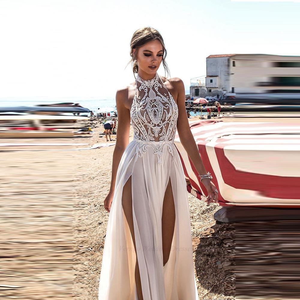 Beach Wedding Dress Boho Bride Gown Sexy High Side Slit Halter ...