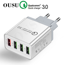 OUSU Universal 4 Ports 48w Quick Charge 3.0 Fast USB Charger Wall For Apple Watch Adapter Charging Station EU US UK