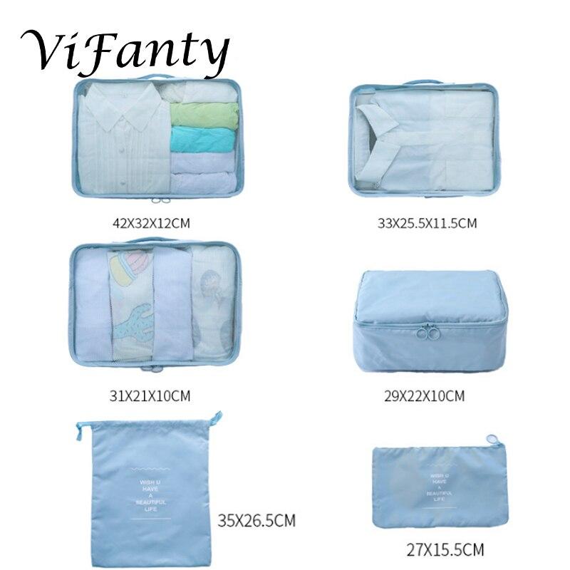 Image 2 - Vifanty 6 комплектов упаковочных кубиков, различные размеры дорожный мешочек для багажа органайзеры с сумкой на шнурке-in Принадлежности для путешествия from Багаж и сумки