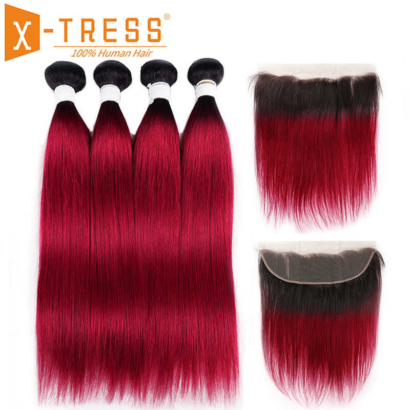 Brazilian Straight 100% Human Hair Bundles With Lace Frontal 13x4 X-TRESS Ombre T Color Non-remy Human Hair Weaving Extensions