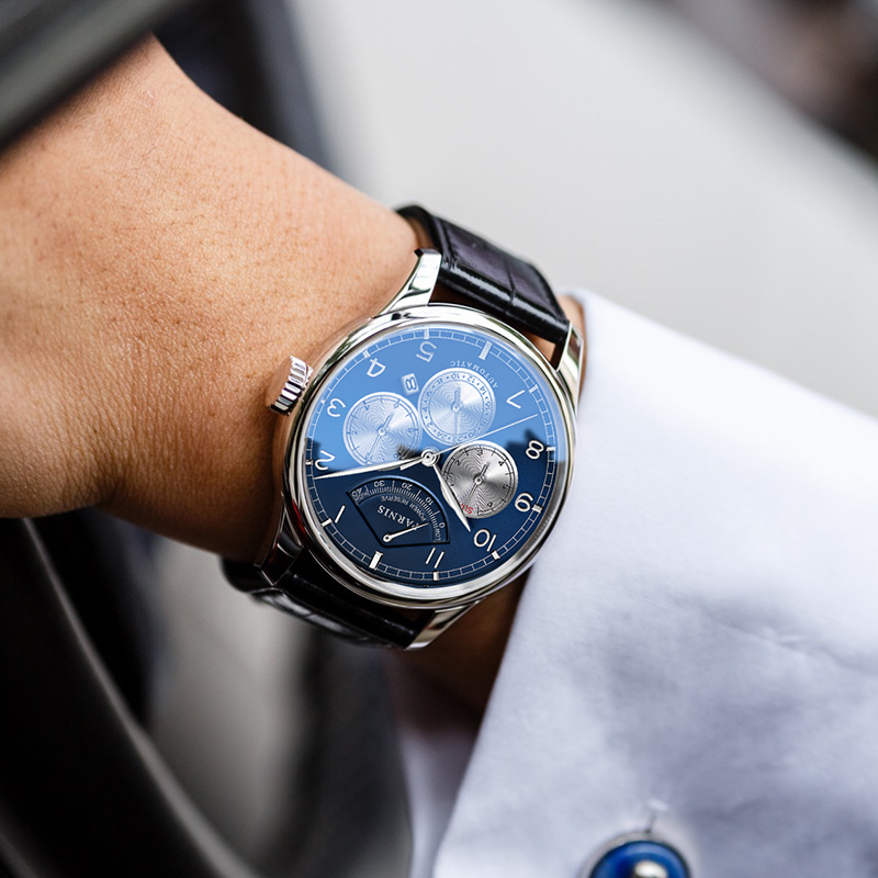 Casual Parnis 42mm Blue Dial Mechanical Mens Watches Miyota 9100 Auto Date Moon Phase Automatic Men's Wrist Watch Man Clock 2019 image