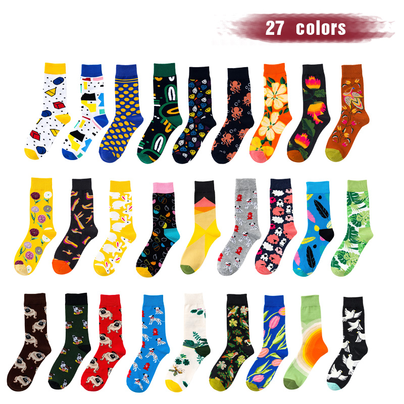 UG 2019 Hot Skateboard Socks Men Hip Hop Crazy Animals Dogs Cats Sloths Pandas Brand Designer Happy Calcetines Long