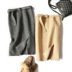 Retro mujer Hight cintura asimétrica lana media pantorrilla falda abrigo nueva Plaid mujeres ropa Vintage moda Jupe Longue mujer delgada