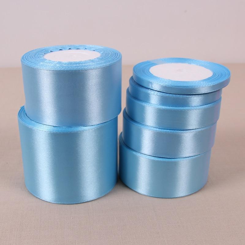 Атласные ленты небесно-голубого цвета 6-10-12-15-25-50 мм, 22 метра в рулоне, ленты для упаковки подарков на Рождество, Хэллоуин, свадьбу, день рожден...