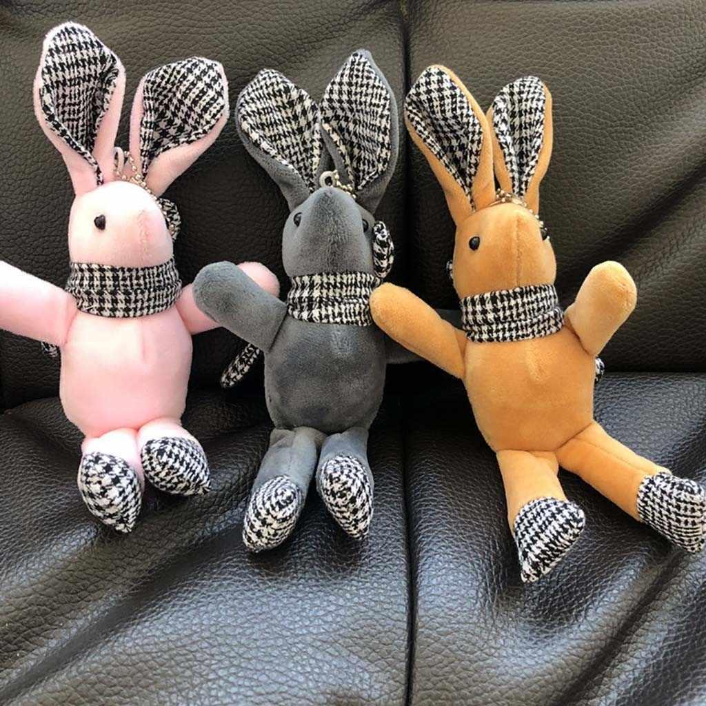 15cm Cute simulación conejo mochila llavero bolsa colgante conejo de dibujos animados muñeca de peluche llavero colgante juguetes suave niños regalo