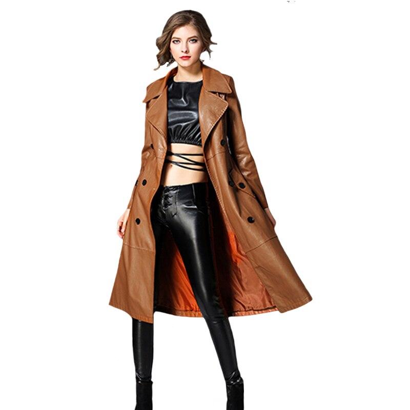 PU Lange Leder Trenchcoat Frauen 2019 Neue Herbst Winter Leder Graben Mantel Dünne Weibliche Lange Mäntel Plus Größe M 3XL outwear-in Trench aus Damenbekleidung bei  Gruppe 1