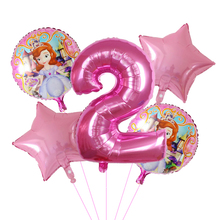 new 5pcs pink sophia pink girl princess for baby girl's birthday 30inch big number