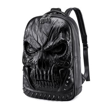Halloween Backpack Personalize Pu Leather Loptop Bookbag Teenager Casual Outdoor Bag Waterproof Heavy Duty Rucksack