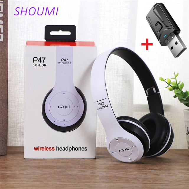 Wireless Headset Foldable Stereo Bass Bluetooth Headphones Kid Girl Helmet Gift,with Mic USB Bluetooth 5.0 Adaptor For TV Gaming 1