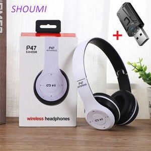 Image 1 - אלחוטי אוזניות מתקפל סטריאו בס Bluetooth אוזניות קיד ילדה קסדת מתנה, עם מיקרופון USB Bluetooth 5.0 מתאם עבור טלוויזיה משחקים