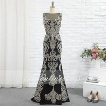 Женское вечернее платье русалка черное прозрачное длинное с