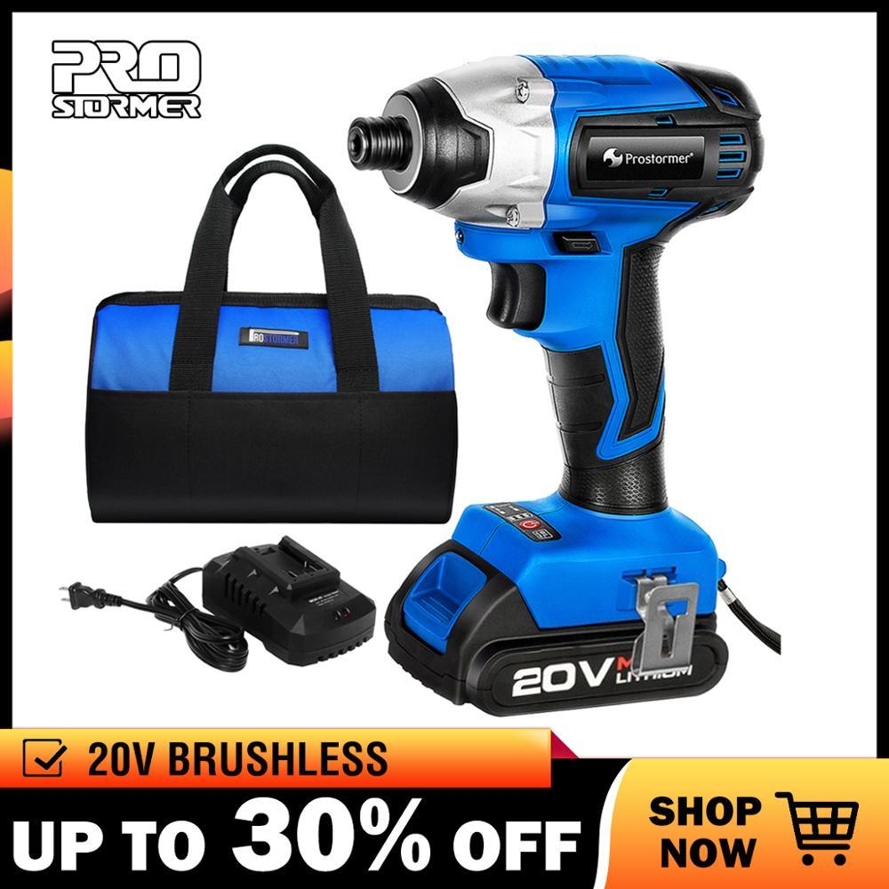 PROSTORMER 20V Brushless Electric Screwdriver Cordless Drill 300NM Brushless Screwdriver Lithium Variable Speed Rechargeable