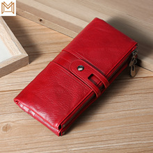 Genuine Leather Wallet Rfid Long Hand Layer Skin Function Man Wallet