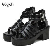 Gdgydh 2020 Summer New Rock Shoes Platform Sandals Women T-strap Back Zipper Block Heel Gladiator Sandals For Women High Heels cross strap back zipper sandals