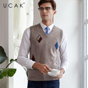 UCAK Brand Sweater Vest Pure Merino Wool Casual Streetwear Fashion Pull Homme 2019 Autumn Winter Warm Clothing Sweaters U3118