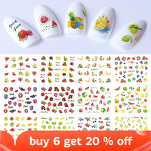 Mixed 12 Fruit Nail Sticker Set Lemon Water Decals Transfer Colorful Slider Tips Nail Art Watermelon Decor SABN829 840