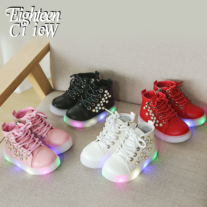 2019 New Rhinestone Luminous Sneakers For Girls Baby Flashing Lights Sneakers Toddler Little Kid Led Shoes Tenis Infantil