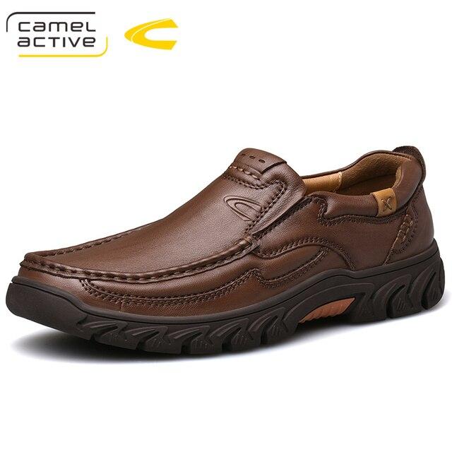 גמל פעיל חדש אמיתי עור גברים של נעלי אופנה חדשה סט רגל רך עור פרה קל משקל לנשימה נעליים יומיומיות גברים לופרס