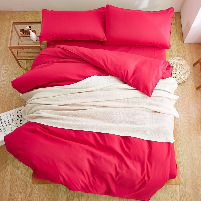 Plain Burning Pink Color Linen Bedding Sets