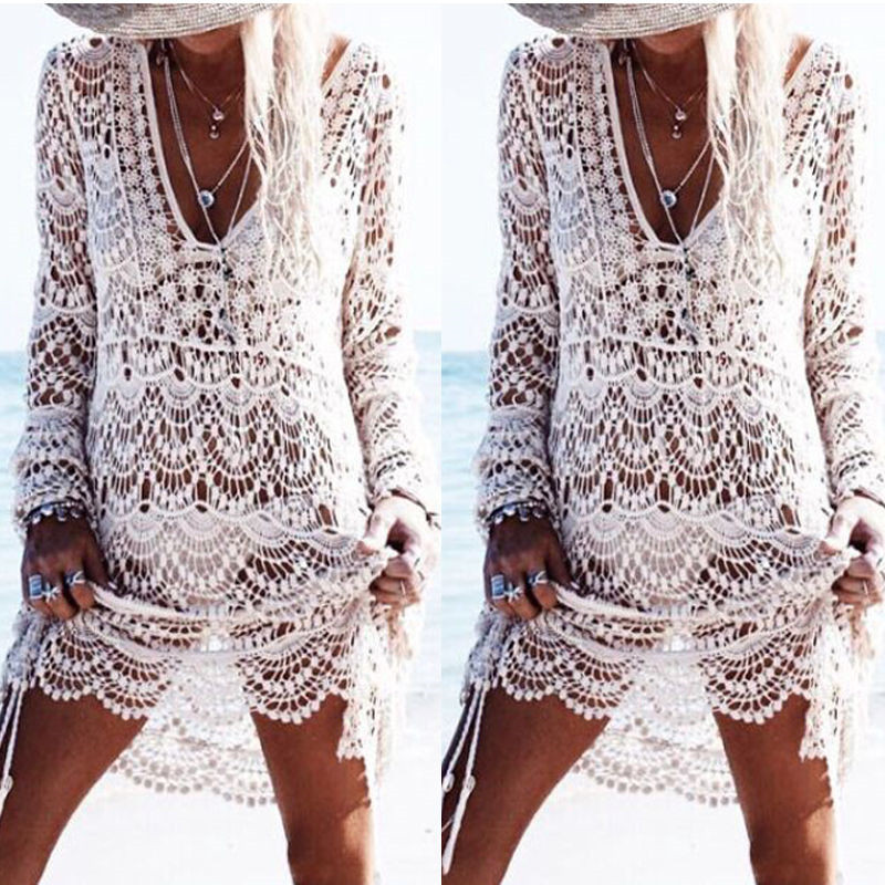 2020 Sarongs Bikini Beach Lace Kintted Embroidery Crochet Beach Cover Up Bathing Suit Pareo White Robe De Plag Women Cover-Ups