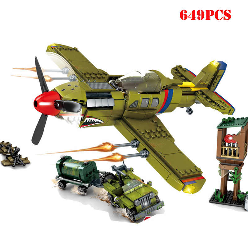World War 2 American Plane Tank Armored Vehicle Building Blocks Compatible Legoing Army WW2 Weapon Technic Bricks Toys For Child