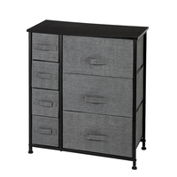 Dresser with 7 Drawers Home Furniture Shelf Storage Tower Unit Iron Non woven Drawer Rack for Bedroom Hallway Closet