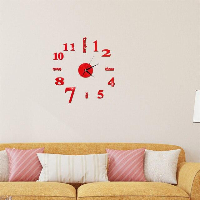 DIY Wall Clock 3D Mirror Clock Creative Acrylic Wall Stickers Living Room Quartz Needle Europe horloge Home Decor Drop shipping 4