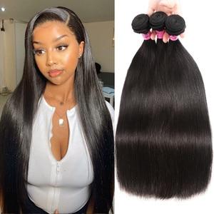 Image 1 - Unice cabelo malaio extensão do cabelo reto 8 30 Polegada cor natural feixes de cabelo humano 100% remy tecer cabelo 1/3/4 peças