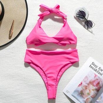 Sexy v-neck swimsuit female Halter solid swimwear women Bandage bikini 2019 Neon Pink bathing suit High waist Summer bathers new 5