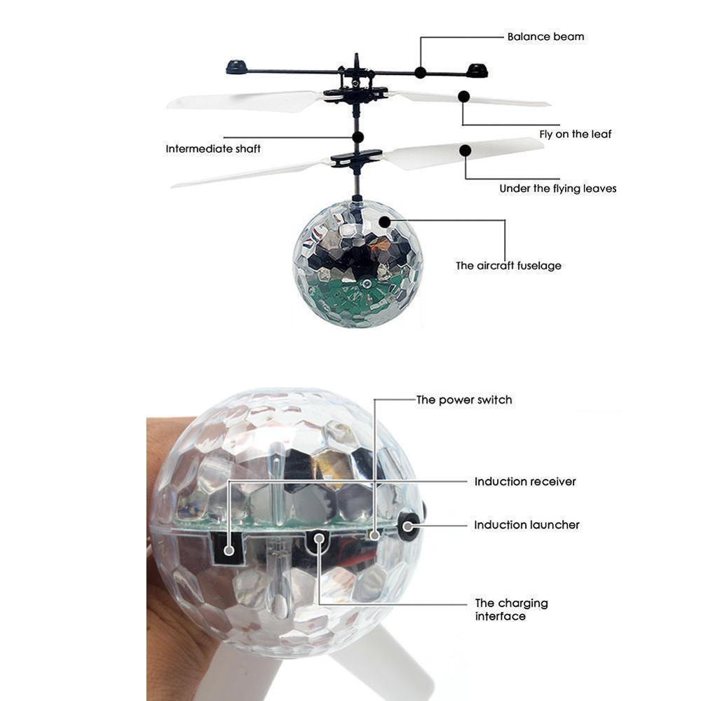 Light Weight Simple Operation Electric RC Fly Ball Infrared Induction Aircraft Flash LED Light Kids  Luminous Flight Plane Toys